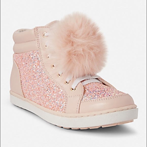 7fcf19838 Justice Other - Girls Pink Glitter Pom Pom High Tops